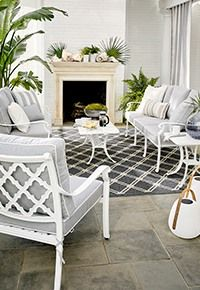 You'll love this Roxie Woven Lounge Armchair at Ballard Designs! Shop now for new custom & upholstered furniture online. Indoor Outdoor Rugs, Outdoor Living, Corner Media Cabinet, Buffalo Check Bedding, Patio Furniture Sets, Entry Furniture, Diy Outdoor Furniture, Furniture Stores, Cuddle Chair