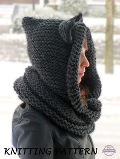 Hooded Cat Cowl Knitting Pattern, Cat Ears Hooded Infinity Scarf Knitting Pattern, Knit Hooded Animal Scarf Pattern, Cat Beanie Hat Pattern, Knit Cat Hat Pattern