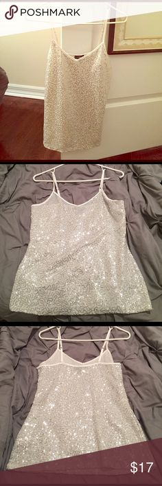 Express Sequined Camisole/Tank Top White Sequined Tank by Express. Adjustable straps. Great for layering under sweaters or jackets. Express Tops Tank Tops