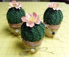Hand Knit Cactus Pincushion - cute!