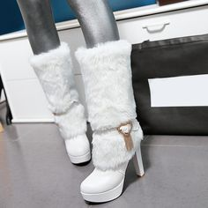 Shoespie Cute Round Toe Middle Heel Snow Boots