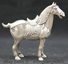 "8"" Chinese Fengshui Silver Zodiac Year Tang Horse Successful Statue sculpture"