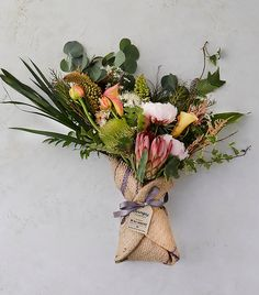 Designed exclusively for terrain in collaboration with Farmgirl Flowers, this burlap-wrapped bouquet beautifies the summer home or makes a stunning gi How To Wrap Flowers, Diy Flowers, Flower Decorations, Wedding Flowers, Floral Bouquets, Floral Wreath, Floral Arrangements, Flower Arrangement, Garden Plants