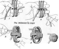 Make a monkey fist knot.