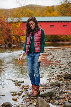 Red plaid puffy vest, green sweater, light blue shirt, jeans, tan boots - Classy Girls Wear Pearls Latest Articles | Bloglovin'