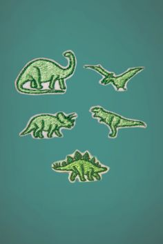 "Dinosaur Polo Pals - Set of 5 Embroidered Iron-on Patches. $5.00, via Etsy.  ""...curse your sudden but inevitable betrayal..."""