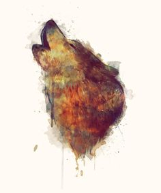 Wolf Art Print - Beautiful use of mixed media, traditional and photoshopr