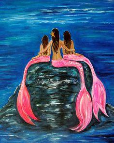 """Mermaid Art Print Little Mermaid Mother Daughters Mom Girls Sisters Little Girls Room Decor """" Gorgeous Girls"""" Leslie Allen Fine Art"""