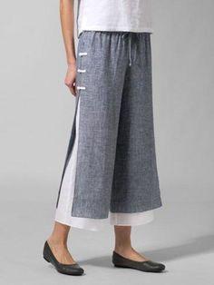 Cotton Pants Plus Size Casual Wide Leg Linen Pants - modvivi Baggy Pants, Loose Pants, Cropped Pants, Casual Pants, Skirt Pants, Harem Pants, Miss Me Outfits, Work Outfits, Wide Leg Linen Pants