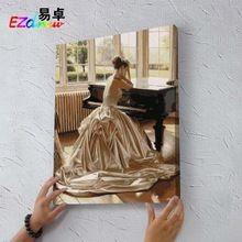 Pintura a óleo sem moldura Canvas pintura decoração imagem Wall Decor 40 X 50 cm pense menina de 8922 pintura por números(China (Mainland))