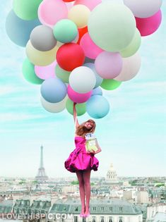 Floating High photography balloons girl cool colorful - wow, levitate, float, hang, hover, float, soar, fly, levitation