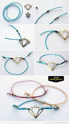 DIY Diamond Bracelet- love the smaller beads and the method of adjusting. Great idea for larger charms Handmade Accessories, Jewelry Accessories, Handmade Jewelry, Jewelry Design, Wire Jewelry, Jewelry Crafts, Jewelry Bracelets, Jewellery, Bracelet Fil
