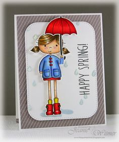 The Spotted Chick: Happy Spring!, Simon Says Stamp, Abby's Spring Showers, Easter, Handmade Card