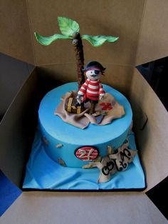One-tiered Pirate Birthday Cake!  All edible accents and figures!