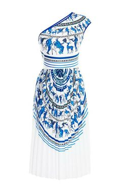 Corinthian Vase One Shoulder Dress by Clover Canyon Now Available on Moda Operandi