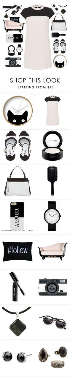 """black & white organized"" by tinkertot on Polyvore featuring Dot & Bo, Paule Ka, Dune, MAC Cosmetics, CÉLINE, GHD, Park B. Smith, Bobbi Brown Cosmetics, LØMO and NOVICA"