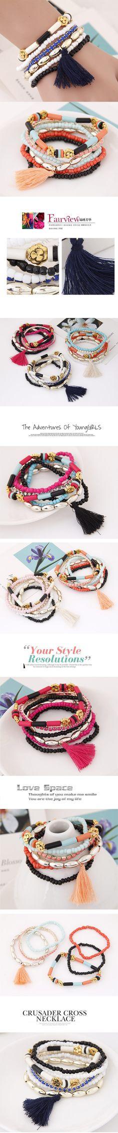 Wholesale Korean trendy all match metal beads flowers multi-layer beads bracelet ( blue + rose )   Callesetas