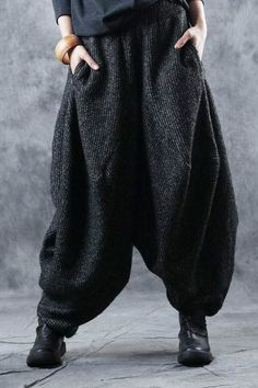 Buy Vintage Thick Knitting Yoga Pants Plus Size Harem Pants for Woman in Harem online shop, Morimiss offers Harem to make you feel comfortable Harem Pants Outfit, Skirt Pants, Yoga Pants, Plus Size Harem Pants, Harlem Pants, Pants For Women, How To Wear, Outfits, Clothes
