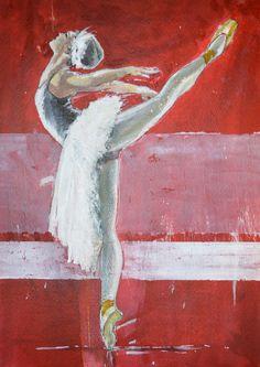 Pavel Kasparek: Dancer in Red Space / watercolor, ink / 8 x 12 inch