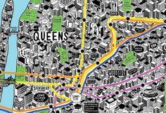 Jenni Sparks Illustration: Hand Drawn Map of New York