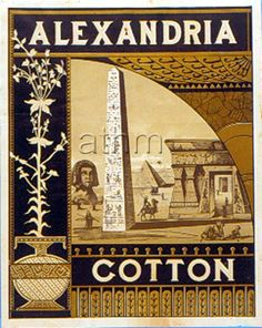 Alexandria brand cloth label - Egypt / Obelisk & Sphinx.