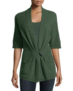 TABS8 Neiman Marcus Cashmere Collection Cashmere Basketweave Toggle-Front Cardigan
