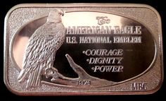 THE AMERICAN EAGLE 1974 USSC .999 FINE 1 TROY OZ SILVER VINTAGE BAR 1369