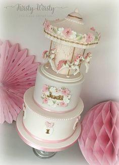 Resultado de imagem para the cake parlour carousel cake Carousel Birthday Parties, Birthday Cake Girls, Pretty Cakes, Beautiful Cakes, Fondant Cakes, Cupcake Cakes, Christening Cake Girls, Carousel Cake, Girly Cakes