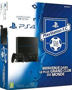 Console PS4 1 To Jet Black + 2ème manette Dual Shock 4 Noire + Playstation Football Club