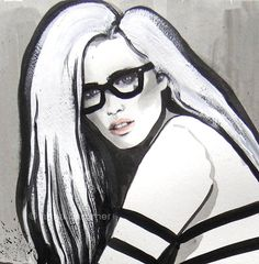 Girl Glasses And Gaultier Pen And Ink by worksbyannahammer