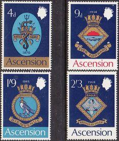Ascension Island 1969 Royal Naval Crests Set Fine Mint SG 126/9 Scott 166/9 Other Ascension Island Stamps HERE