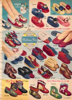 Bedtime Pals - slippers in 1952 Sears Christmas Catalogue Mode Vintage, Vintage Shoes, Vintage Ads, Vintage Posters, Vintage Outfits, Christmas Catalogs, Christmas Books, Retro Christmas, Retro Ads