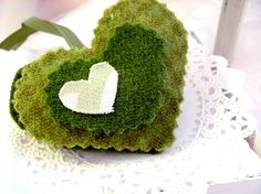 Spring Apple Green Gingham Heart Home Decor by hartstringz on Etsy, $8.00
