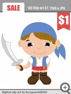 Pirate little boy clip art for kids