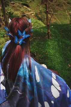 2 butterfly blue hair pins bridal hair piece by CostureroReal Butterfly  Hair 4923372deab
