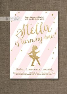 Pink & Gold Glitter Birthday Party Invitation with tiny dancer ballerina and pink stripes Ballet Baby Girl First Birthday Invitation  by digibuddhaPaperie, $20.00
