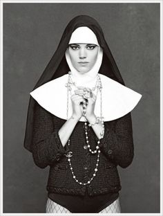 In honor of the recent nuns' work despite the vati-can't. Chanel Little Black Book   Freja photographed by Karl Lagerfeld