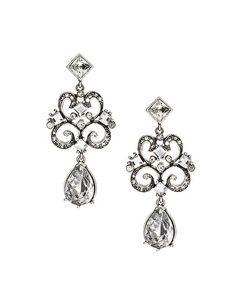 talullah tu silver baroque crystal drop earrings. asos.