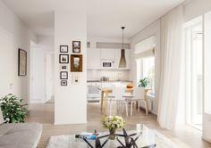 Härmälänrannan Lentäjän keittiö ja olohuone, visualisaatio. / Visualization of the kitchen and living room in Härmälänrannan Lentäjä.