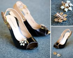 Vintage clip earrings aren't just for decorating your ears! #shoe #diy