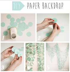 DIY craft ideas: paper backdrop. Wedding inspiration and decoration for bride and groom.Take the paper of your choice and use a big hole punch to make circles. Then, with a needle and a sewing thread, pierce the centre of each circle to make a garland. Make different size of garland to to obtain the shape of your choice at the end. Finally, hang the garlands on a thicker rope that you are going to hang horizontally on the wall.