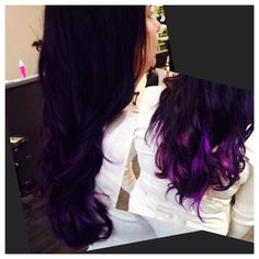 Blue black into purple ombré with balayaged lighter electric purple throughout!!!