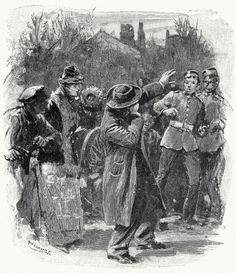 """""""He gave a cry and dropped."""" Sydney Paget, illustration to A scandal in Bohemia, from The adventures of Sherlock Holmes, by Arthur Conan Doyle, London, 1892"""