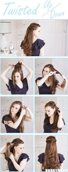 Twisted Up/Down Hair Tutorial Step by Step! So cute and I love how simple and easy this is!