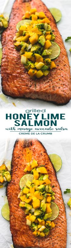 Easy and tasty grilled honey lime salmon with mango avocado salsa is full of fresh and bright Summer flavors! This flaky salmon will MELT in your mouth. | lecremedelacrumb.com