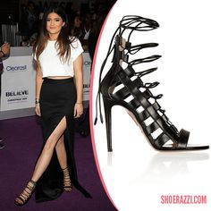 Kylie Jenner in Aquazzura Amazon Black Leather Lace-Up Sandals - ShoeRazzi