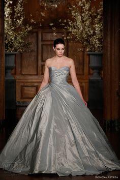 romona keveza spring 2014 bridal color wedgewood blue silk taffeta ball gown