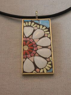 Mosaic Flower Pendant White Pink and Blue by SallyMaysMosaicArt, $40.00