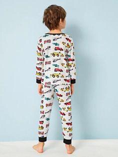 Boys Cartoon Car Print PJ Set – Agodeal Barefoot Kids, Satin Pj Set, Cartoon Letters, Sleepwear & Loungewear, Boys Pajamas, Pj Sets, Sport Wear, Spandex Material, Big Boys