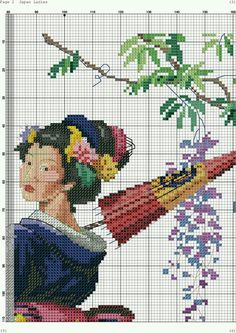 Cross Stitch Charts, Cross Stitch Designs, Cross Stitch Embroidery, Cross Stitch Patterns, Oriental, Projects To Try, Crafts, Painting, Japanese